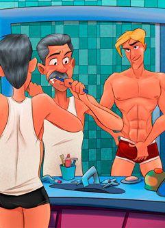 Eu e meu enteado no banheiro